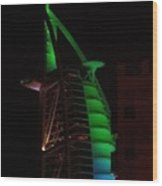 Burj Al Arab Dubai Night Wood Print
