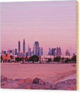 Burj Khalifa Previously Burj Dubai At Sunset Wood Print
