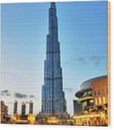 Burj Khalifa Sunset Wood Print