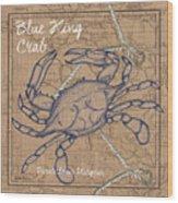 Burlap Blue Crab Wood Print