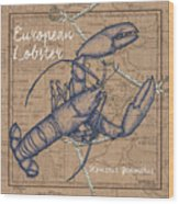 Burlap Lobster Wood Print
