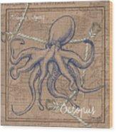 Burlap Octopus Wood Print