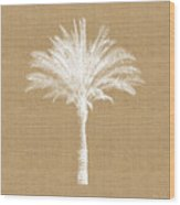 Burlap Palm Tree- Art By Linda Woods Wood Print
