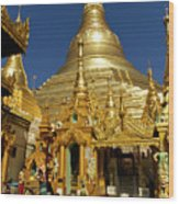 Burma's Golden Pagoda Wood Print