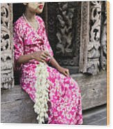 Burmese Flower Vendor Wood Print