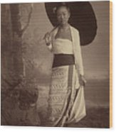 Burmese Lady  Wood Print