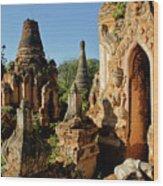 Burmese Pagodas In Ruins Wood Print