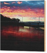 Burn Sunset Wood Print