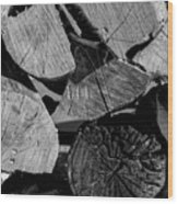 Burned Wood In The Pile Wood Print