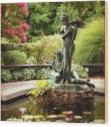 Burnett Fountain Garden Wood Print
