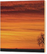Burning Country Sky Wood Print