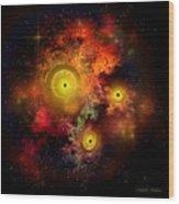 Burning Embers Nebula Wood Print