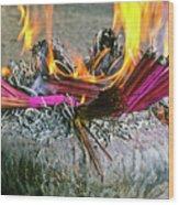 Burning Joss Sticks Wood Print