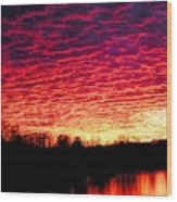 Burning Lake Wood Print