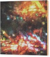 City Of Burning Lights Wood Print
