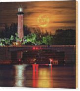 Burning Moon Rising Over Jupiter Lighthouse Wood Print