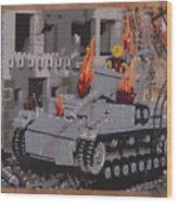 Burning Panzer Iv Wood Print by Josh Bernstein
