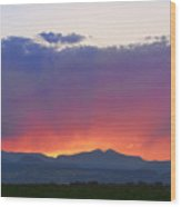 Burning Rays Of Sunset Wood Print