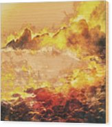 Burning Shore Wood Print
