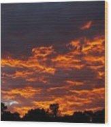 Burning Sunrise Skies Wood Print