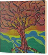 Burning Tree Wood Print