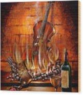 Burning Violin Wood Print
