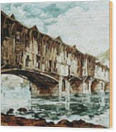 Burnt Covered Bridge Wood Print