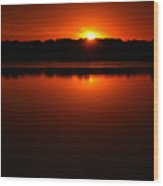 Burnt Orange Sunset On Water Wood Print