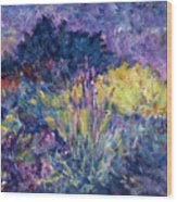 Burst Of Color-last Night In Monets Gardens Wood Print