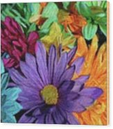 Bursting Colors Wood Print