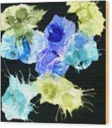 Bursting Comets 2017 - Blue And Green On Black Wood Print