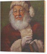 Burts Santa Wood Print by Vicky Gooch