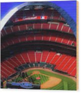 Busch Stadium A Zoomed View From The Arch Merged Image Wood Print