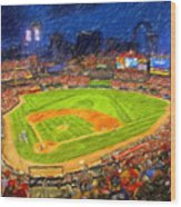 Busch Stadium At Night Rocks Wood Print