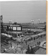 Busch Stadium From The East Garage Black And White Wood Print