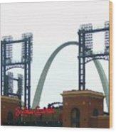 Busch Stadium With Arch Wood Print