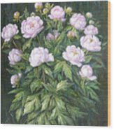Bush Of Pink Peonies Wood Print