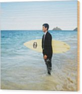 Business Man At The Beach With Surfboard Wood Print