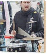 Busking Drummer Wood Print