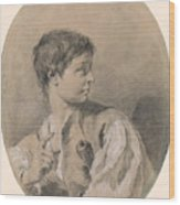 Bust Of A Boy In Profile Holding A Sword Wood Print