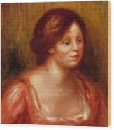 Bust Of A Woman In A Red Blouse Wood Print