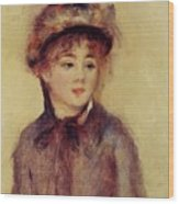 Bust Of A Woman Wearing A Hat 1881 Wood Print