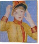 Bust Of A Woman Yellow Dress Wood Print
