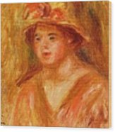 Bust Of A Young Girl In A Straw Hat 1917 Wood Print