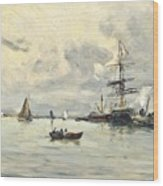 Bustling Activity In A Normandy Port Wood Print