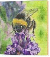 Busy Bumblebee Wood Print