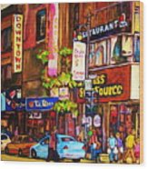 Busy Downtown Street Wood Print
