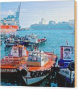Busy Port Of Valparaiso-chile Wood Print