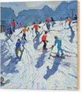 Busy Ski Slope Wood Print