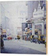 Busy Street In Kolkata Wood Print